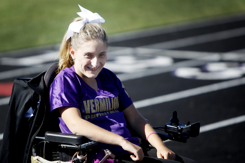 Emily Lezon smiles during cheerleading practice at Vermilion High Tuesday October 8.
