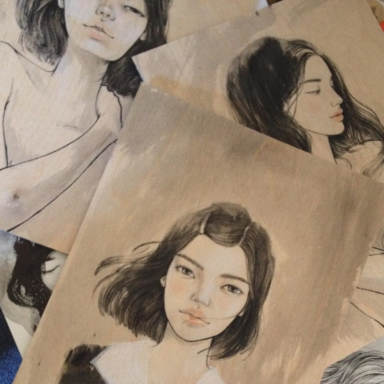 Studio Peek : Study sketches ink Ink and Colored Pencils on birch