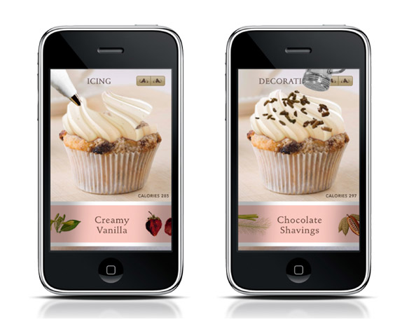 """Cupcake Chef"" App / Customers can create their own cupcakes and order them for delivery. It's fun and interactive; use a finger to ice the cupcake, or physically shake the iPhone to sprinkle chocolate shavings on top."