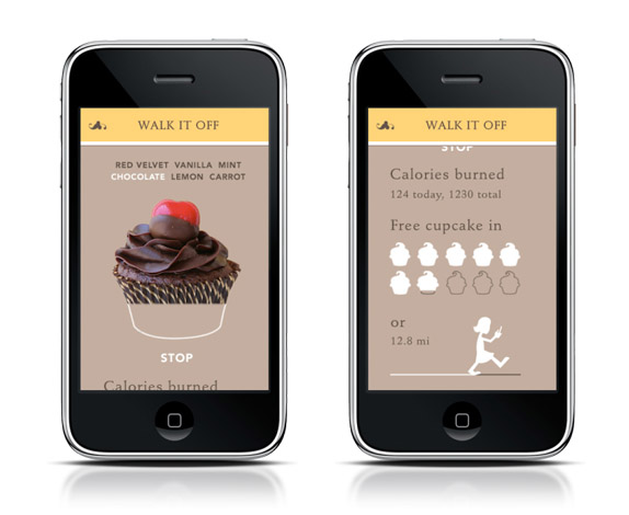 Loyalty Card Alternative / Instead of offering regular stamp cards that customers lose, Babycakes loyalty card is built into their app. The customer can select the type of Babycakes they just ate, press Start, and watch the cupcake burn off their hips with the built-in pedometer! This tracks how many cupcakes have been burnt off and how far the customer has walked. When they have eaten 10 cupcakes or walked 20 miles, they get a free cupcake.