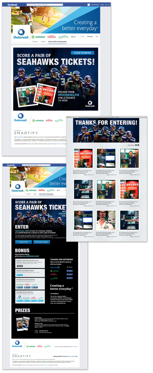 "Facebook App / The interactive ""#KioskSelfie Sweepstakes"" was hosted on Facebook and encouraged users to upload a selfie of themselves in front of any Redbox, Coinstar, or ecoATM kiosk to be entered to win Seahawks tickets and merchandise."