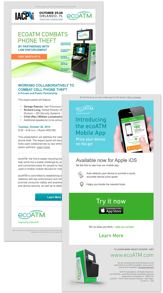 Email Announcements / ecoATM notifies its subscribers when it attends a conference or releases a new app.