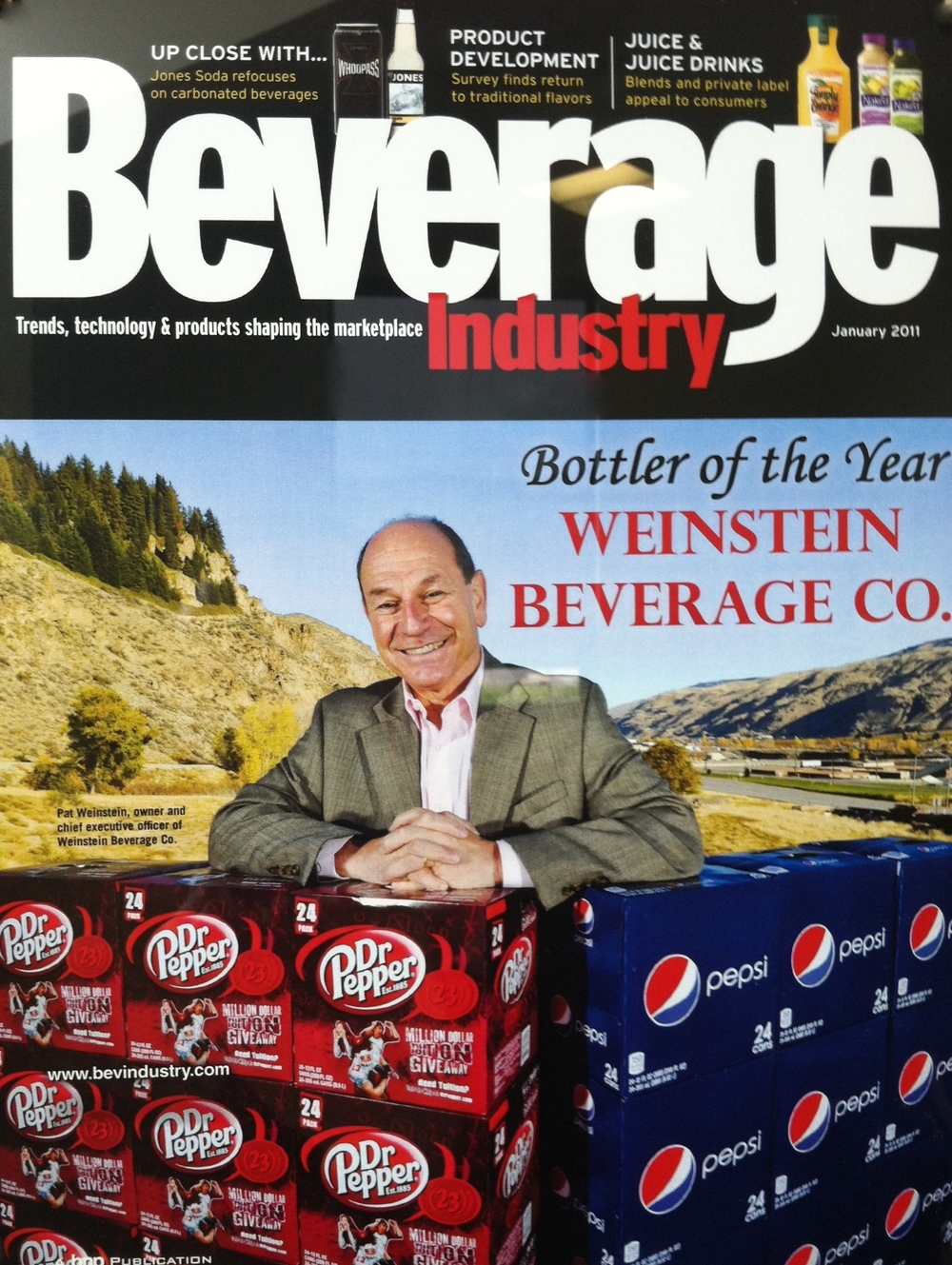 Pat Weinstein on the cover of Beverage Industry Magazine - winner of the 'Bottler of the Year' for 2010.
