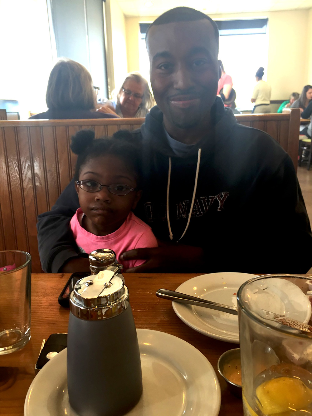 My daughter and I enjoying breakfast. Isn't she adorable?