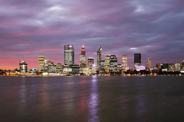 #Perth skyline just after sunset, taken in South Park. {The last of our Australian shots and the beginning of Indonesia will be up on the site soon!} #theyearbetween #travelblog
