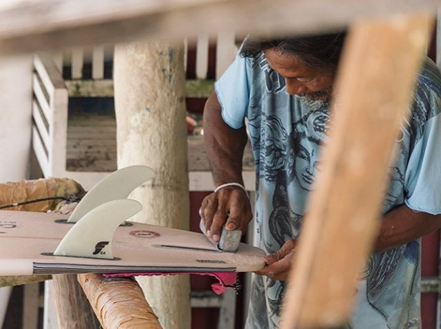Stealthily snapped this photo of a local man hard at work in his beachside ding repair shop. Watching him quickly and effortlessly restore board after board was mesmerizing. #bingin #theyearbetween