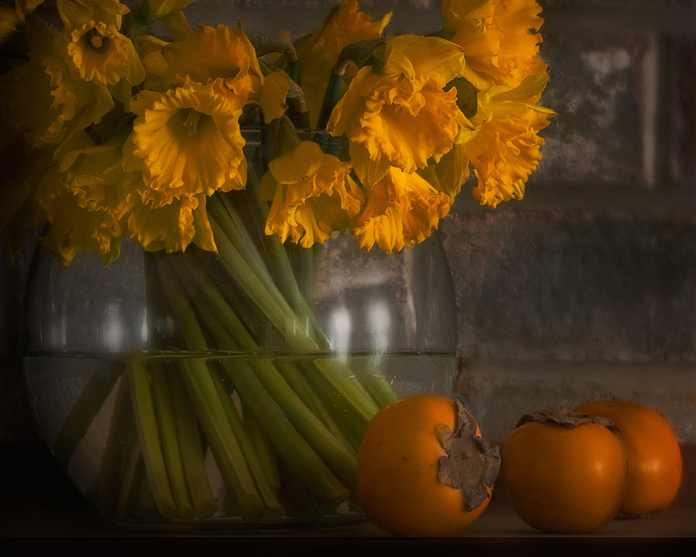 persimmons and daffodils
