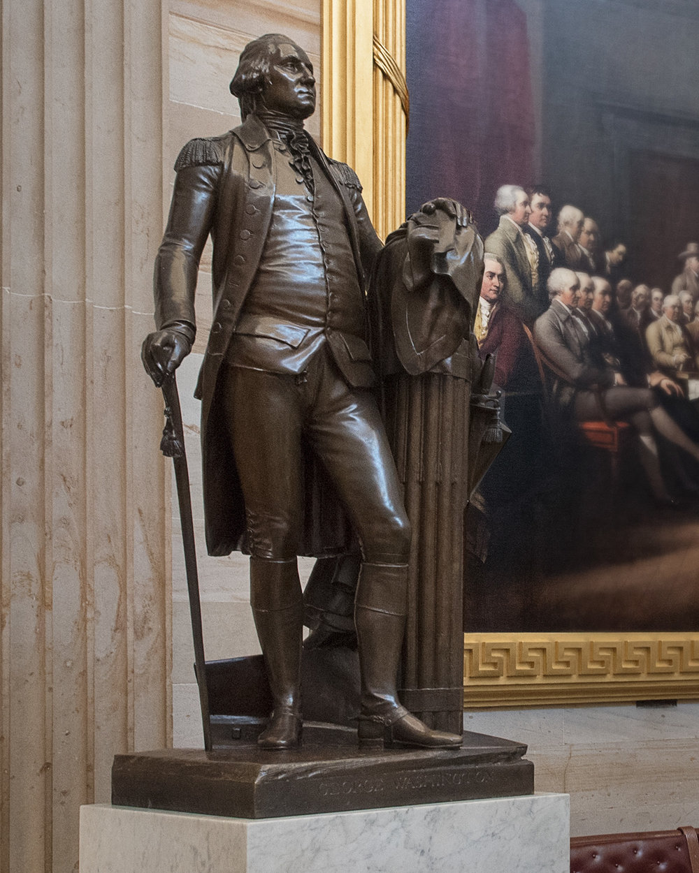 George Washington, in bronze, by Jean Antoine Houdon (copy cast in 1934).