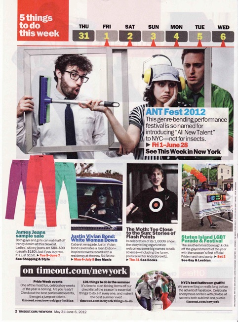 TimeOut Magazine -- Promotional photo for HOLD MUSIC, part of Ars Nova's ANT FEST