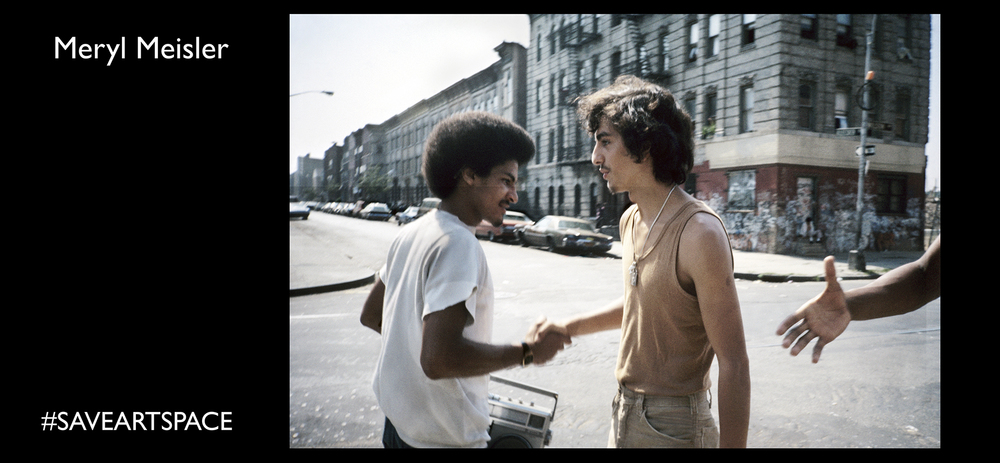 "Meryl Meisler, Handshake Wilson Avenue @ Bleecker Street, Bushwick, September 1982 Series: Bushwick in the 80s Cover image of Meryl's book ""A Tale of Two Cities: Disco Era Bushwick"" (Bizarre Publishing 2014)"