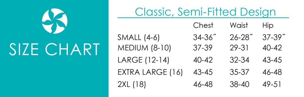SASSYCYCLIST Size Chart