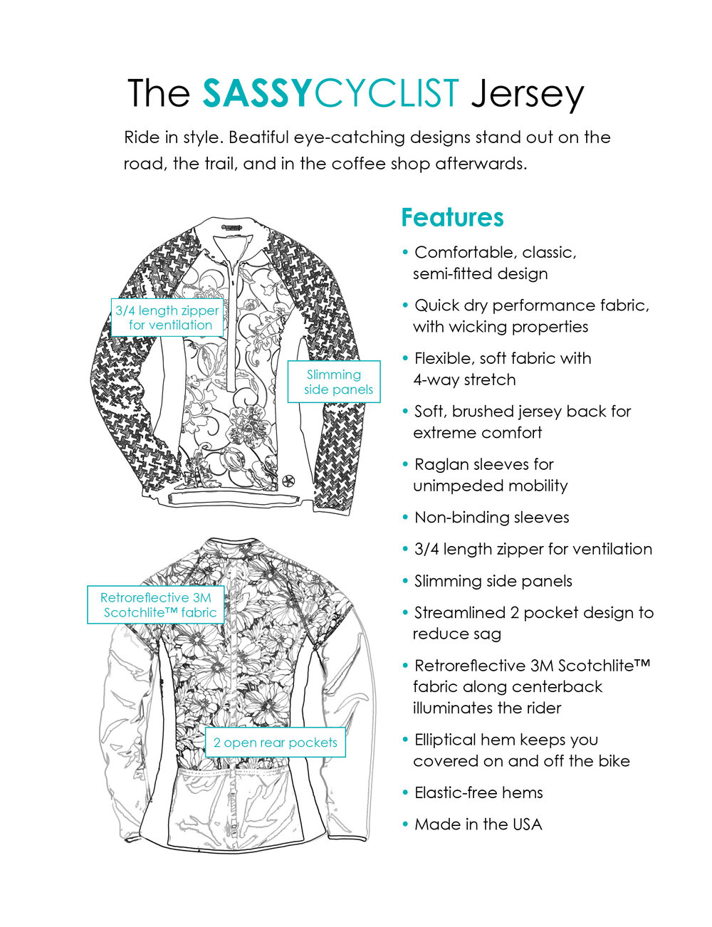Features of the SassyCyclist Women's Cycling Jersey
