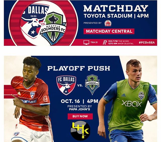 Last regular home game until Playoffs!!! @fcdallas vs Seattle TODAY!!!! LHK rocking the pre game starting at 2:30pm. Want FREE tickets? Follow us on Twitter @thelhk to find out how. 😎💪🏽💪🏽⚽️⚽️