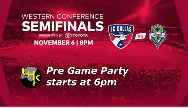Today history will be made!!!! Leg 2 of MLS Semifinals @fcdallas vs @soundersfc . Pre Game Party starts at 6pm with LHK at the @hotelsdotcomna Sound Stage on the North end of stadium. #DALLASTILLIDIE