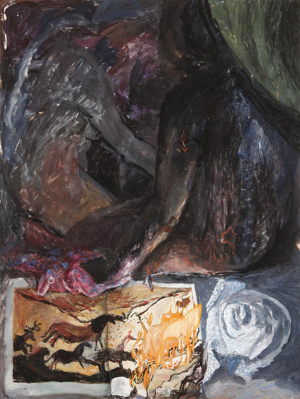 "Tent mates , 2011. Gouache on paper, 29"" x 22"""