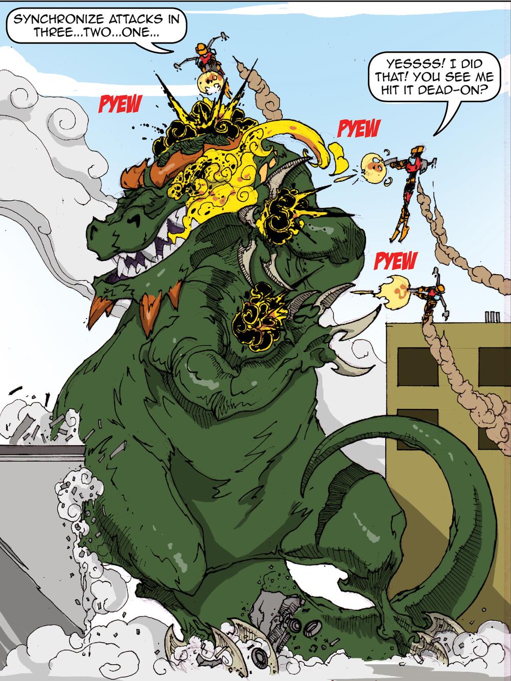 Robot-Men Vs. Giant Monster! GO!