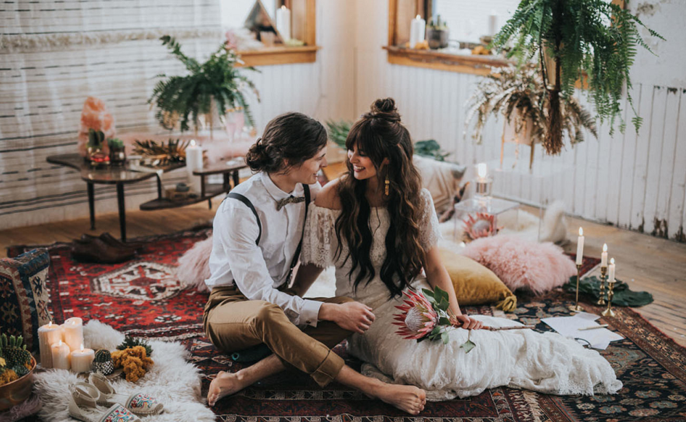 What a boho wedding looks like as seen in green wedding shoes boho wedding couple seated junglespirit Choice Image