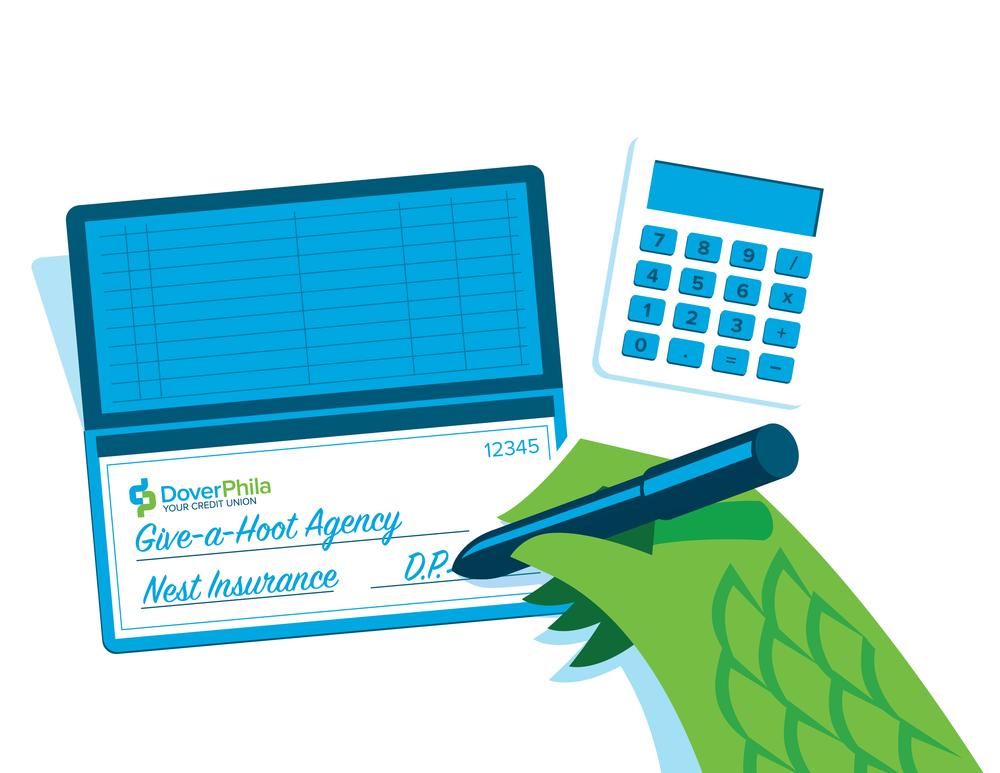 image of mascot DP writing a check