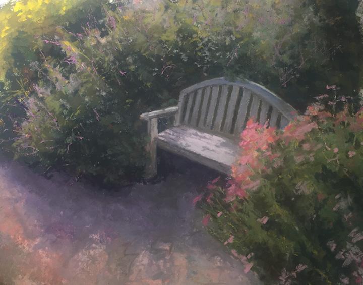 Sun Lit Garden Bench - Pastel - 11x14