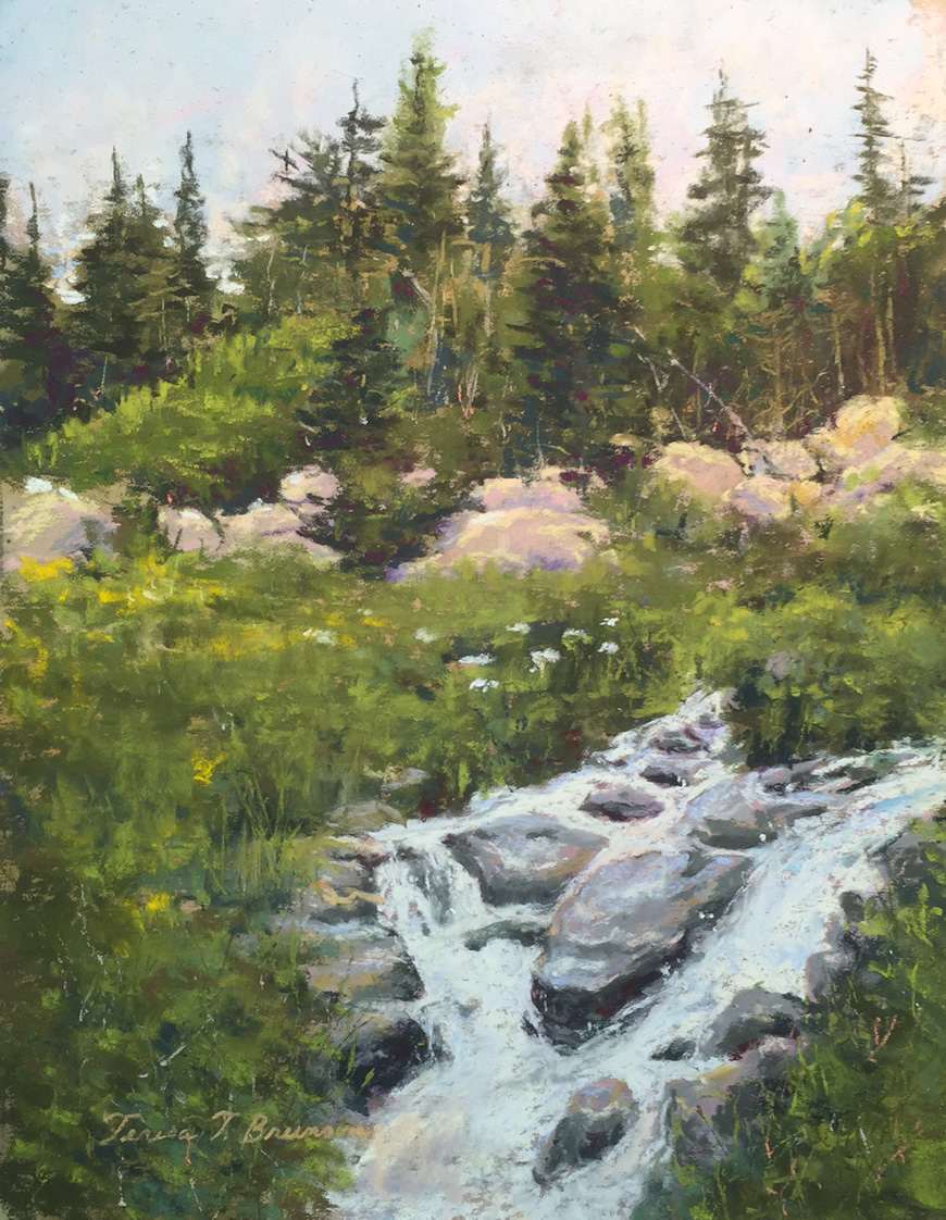 I painted this pastel painting because i wanted to share the calm peaceful  feelings of  hiking in the Rockies