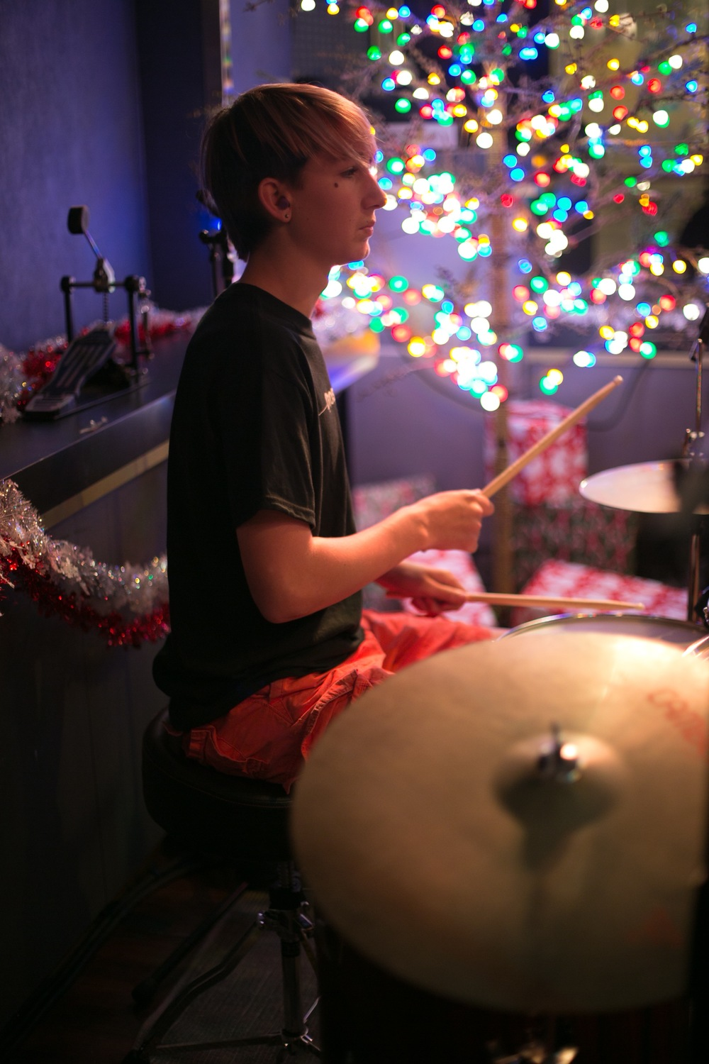 Liam on drums
