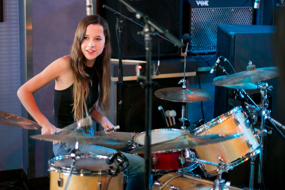 Melina on drums at The Boardwalk (Coasters) 5.21.16