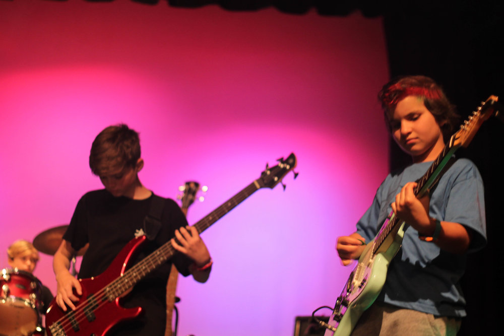 Will on bass (left) & Theo on guitar (right) - Lucas on drums in background!