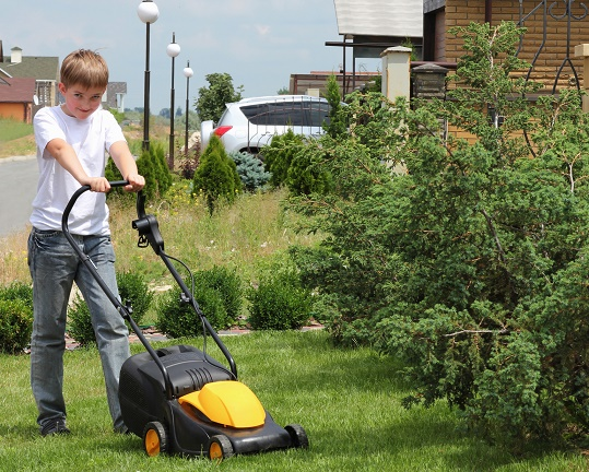 Boy mows lawn