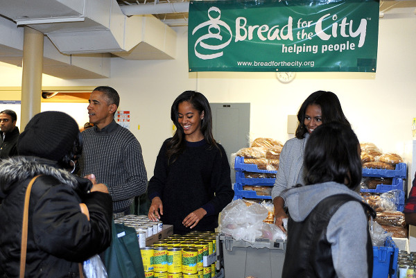 President Obama and his family volunteer at Bread for the City's food pantry just before Thanksgiving this year.