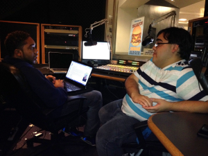 Cristo Rey alumni Phillip Benevides (C'15), right, and Darnell Bland Jr. (B'15), pictured here hosting their weekly Georgetown Radio show The Lower Class, met during the Georgetown Summer College Immersion Program in 2010.