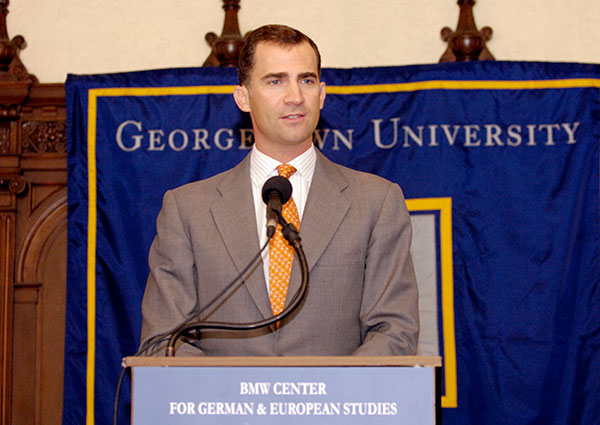 Prince Felipe speaks during the 2006 inauguration of the Prince of Asturias Library at Georgetown's Center for German and European Studies.