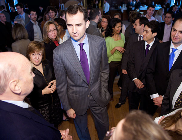 Prince Felipe (G'95) talks to students, faculty and staff from the School of Foreign Service during a 2009 visit to Georgetown.