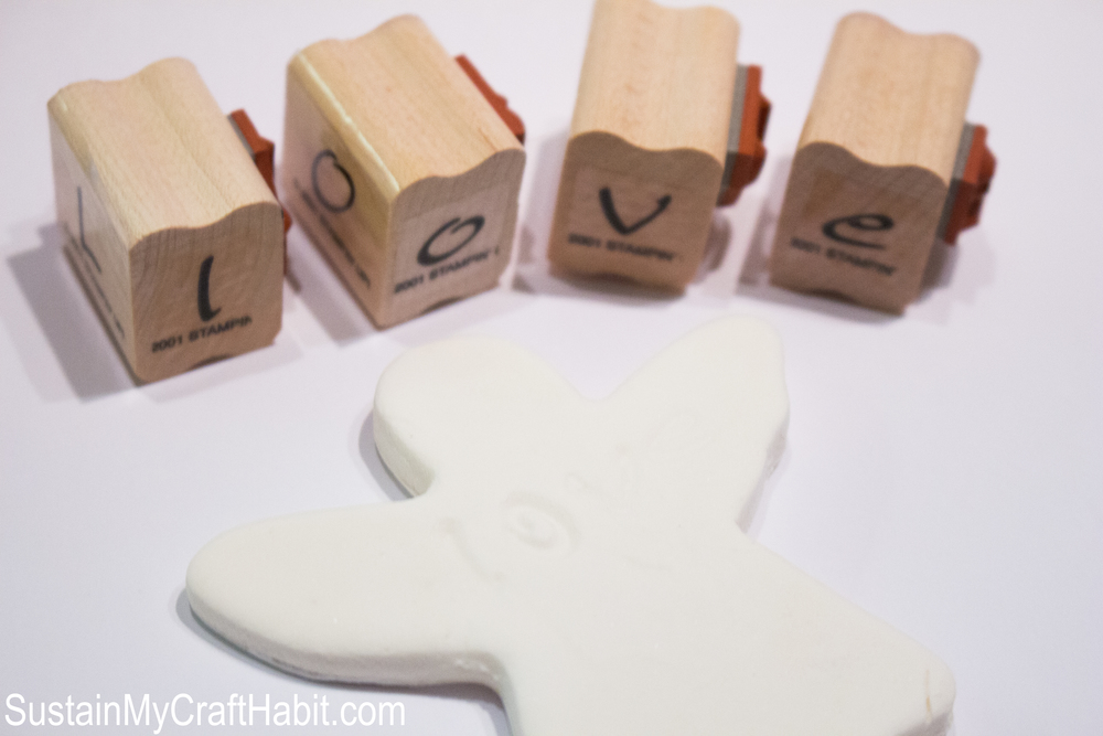 Love-ly angel fridge magnets made using baking soda clay, cookie cutters and letter stamps. I fun DIY decor or gift idea for a wedding, Christening, First Communion or other special event. SustainMyCraftHabit