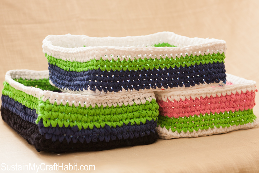 Crochet t-shirt yarn baskets - SustainMyCraftHabit