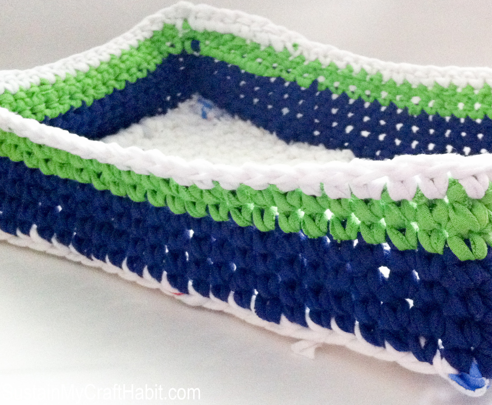 Crochet t-shirt yarn basket - SustainMyCraftHabit