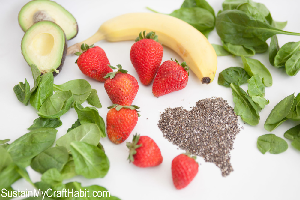 A fun way to get healthy veggies and fruit into the kids: Zombie Brains Breakfast ?Ice Cream? (a.k.a. Frozen Smoothies). This recipe is full of yummy ingredients including kale, chia seeds and strawberries. ? SUSTAIN MY CRAFT HABIT