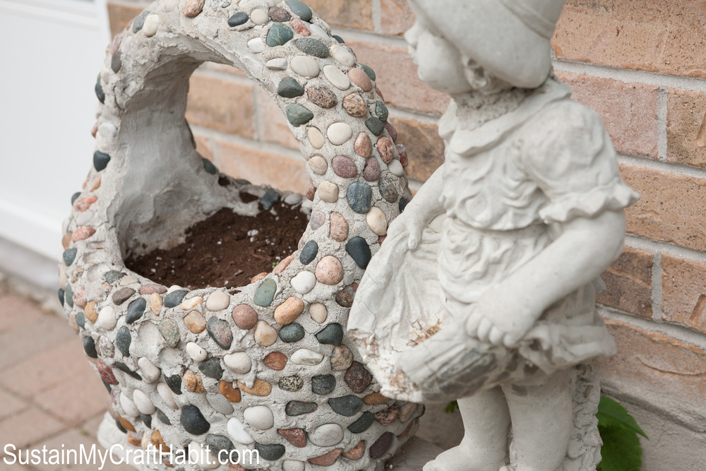 Stone and cement basket planter