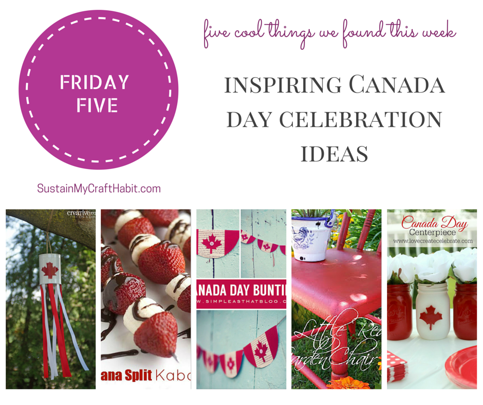 "Five festive and patriotic red and white craft ideas to help celebrate Canada Day. From garlands, Mason jars, garden d�cor and food, you'll find creative and inspiring ideas in this roundup that will have you singing ""Oh Canada"" in no time. Include a bonus hostess gift idea and printable."