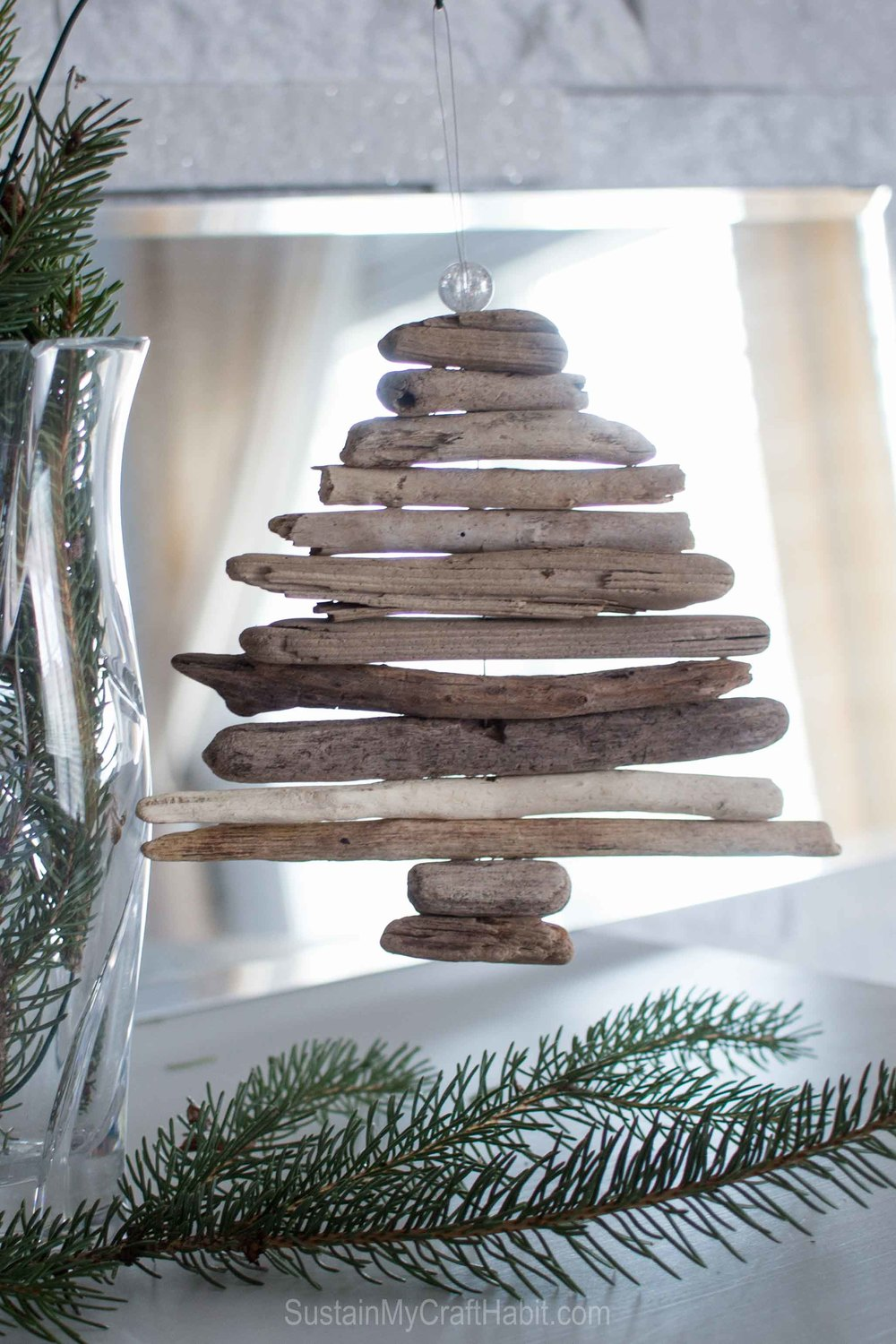 Miniature DIY driftwood Christmas tree ornament - SustainMyCraftHabit.com