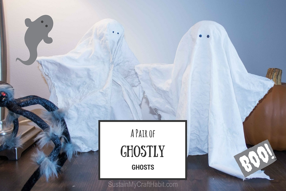 These quick and easy ghosts were made with upcycled materials from around the home and are the perfect Halloween decor- SustainMyCraftHabit