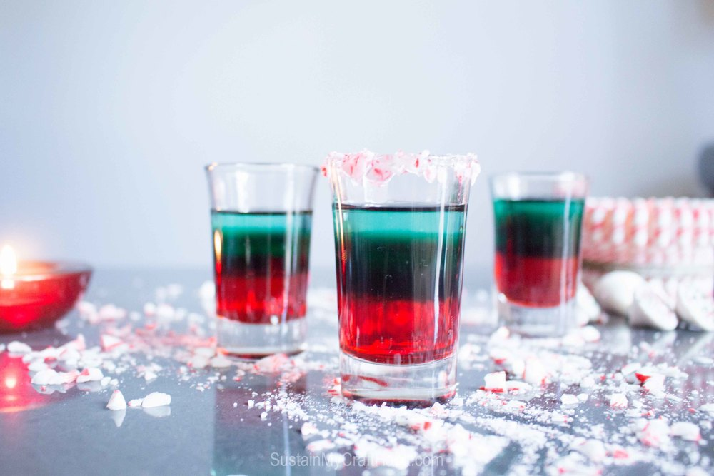 Three ingredient peppermint shooter. A beautiful and impressive treat to share with your holiday guests - SustainMyCraftHabit