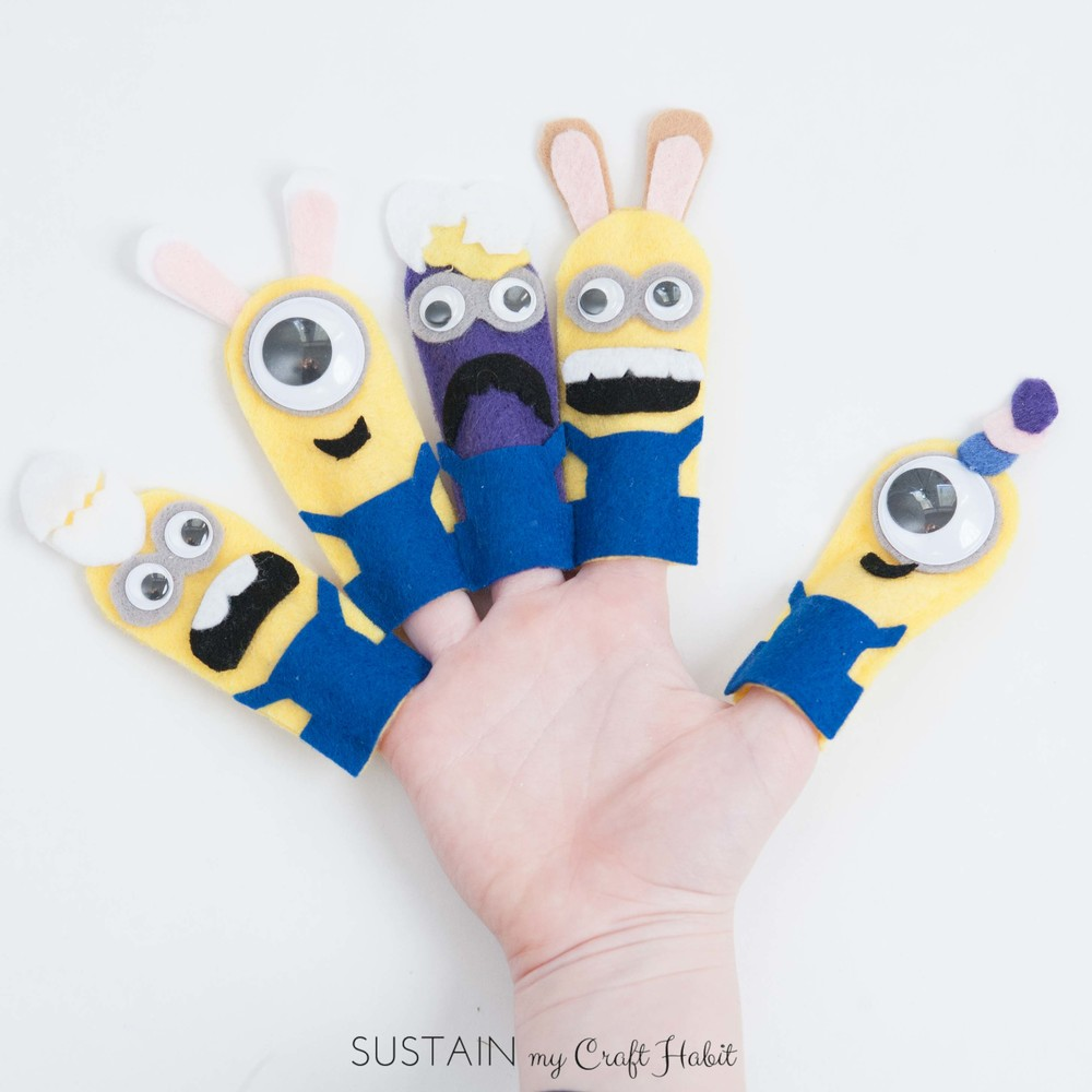 DIY minion-like finger puppets including printable template - SustainMyCraftHabit