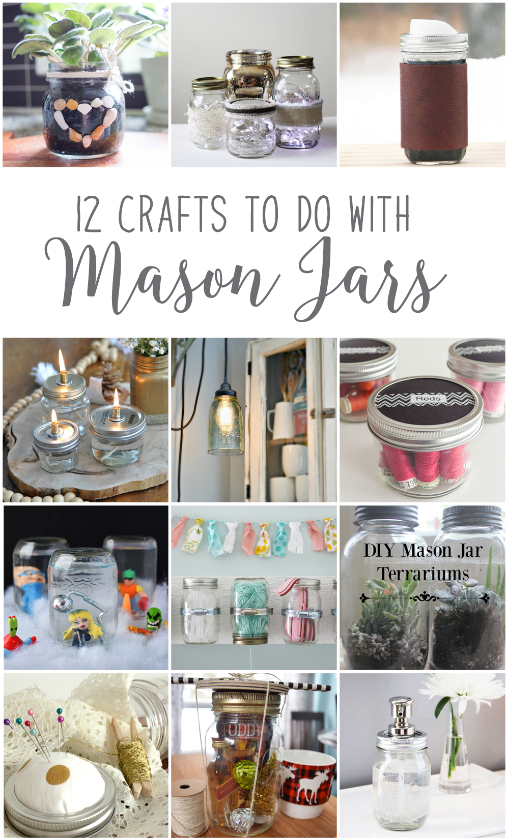 Enjoy 12 great DIY and home decor projects using Mason jars from Canadian bloggers for hte #12monthsofDIY challenge - SustainMyCraftHabit