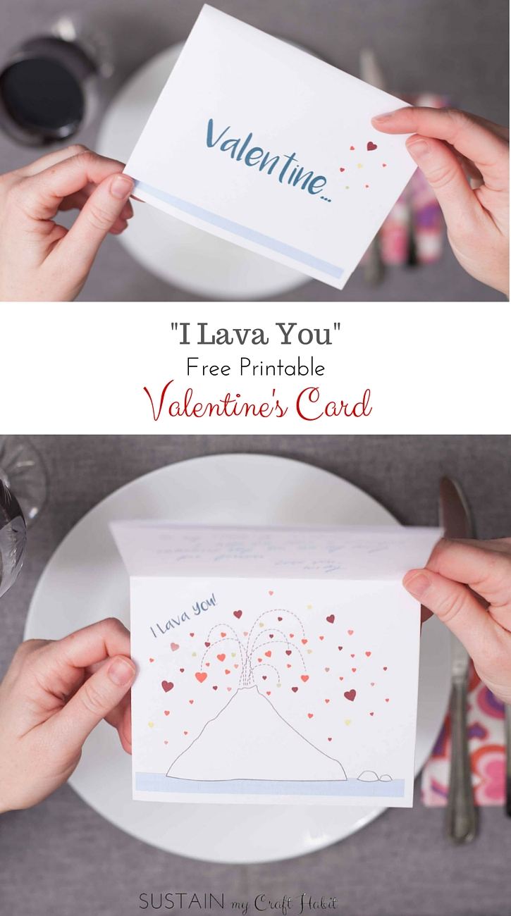 "Inside Out short movie-inspired free printable Valentine's Day card ""I Lava You"". A thoughtful card for an Anniversary or ""just because"" as well. Click through to pick up the download. - SustainMyCraftHabit"