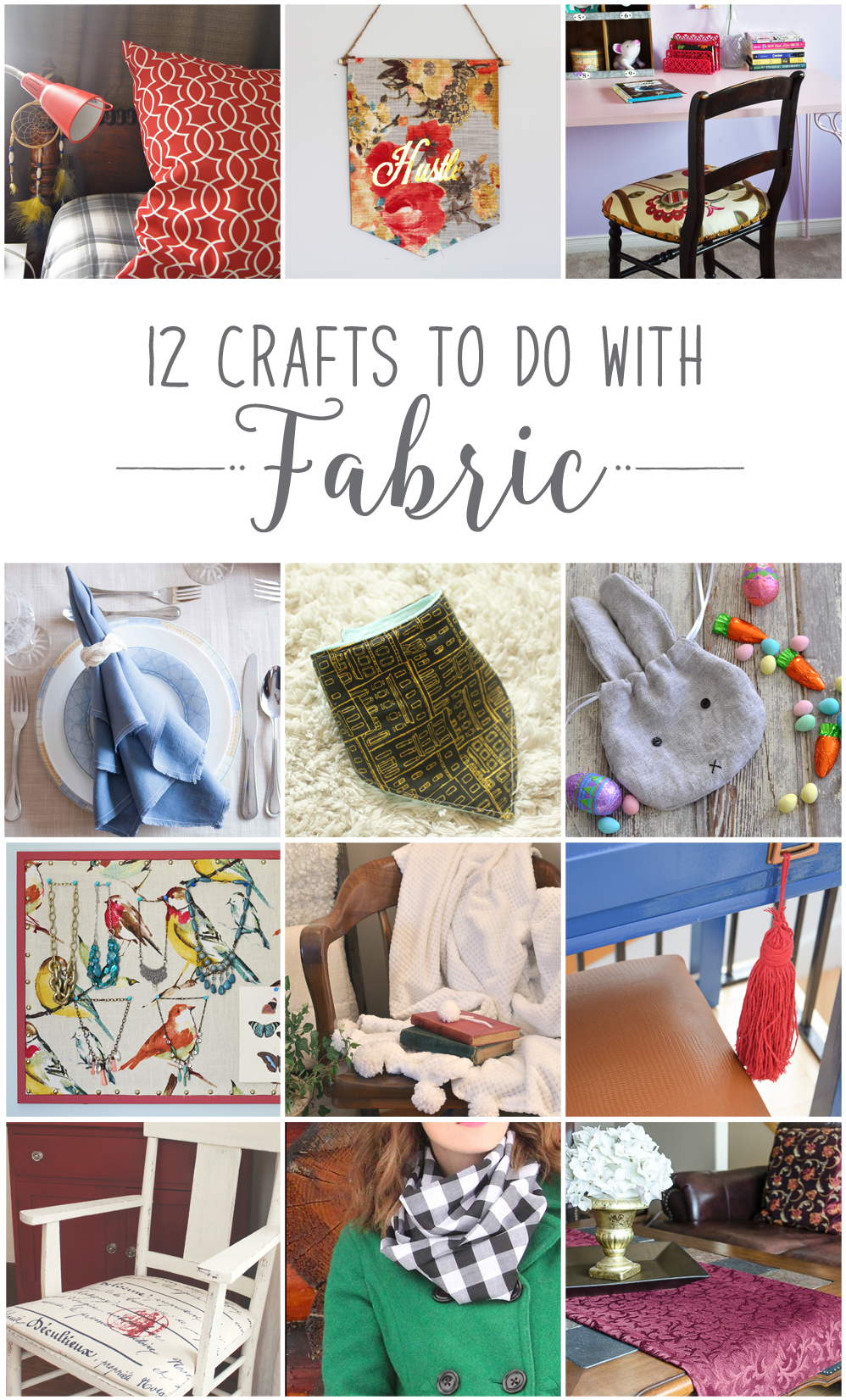 12 Crafts you can make with one yard of fabric. From cushions, linen napkins, chair refinishing, chenille blankets, Easter bunny treat bags, table runners and more, these creative DIY projects will have you dusting off your sewing machine in no time.