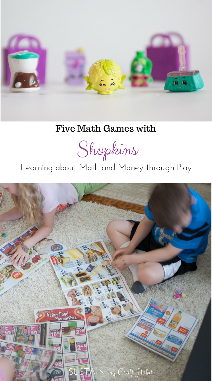 Five Math Games with Shopkins. These little plastic characters are pretty cute on their own and the latest craze in the schools. Leverage your kids interest in them to teach lessons about math and money. With some grocery store flyers and scissors you'll be creating and comparing shopping lists in not time! #STEM SustainMyCraftHabit.com