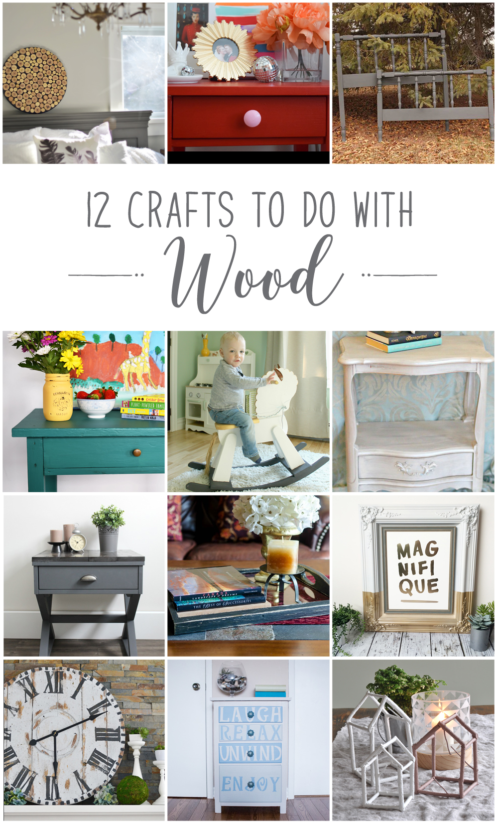 12 crafts to make with wood. These fantastic DIY home decor projects include upcycled dressers, side tables, a rocking horse, sliced wood accent decor and more. Click through for the links to all of these ideas.