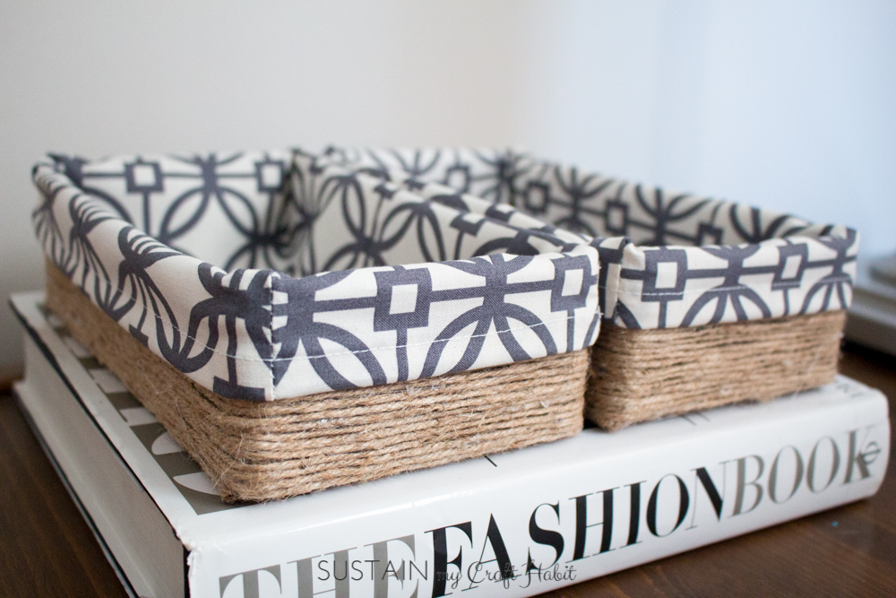Upcycling a tissue box into a DIY decorative storage box. Scrap fabric, some twine or your favorite yarn and a few craft supplies are all you need for this DIY storage idea. Click through for the step-by-step tutorial.