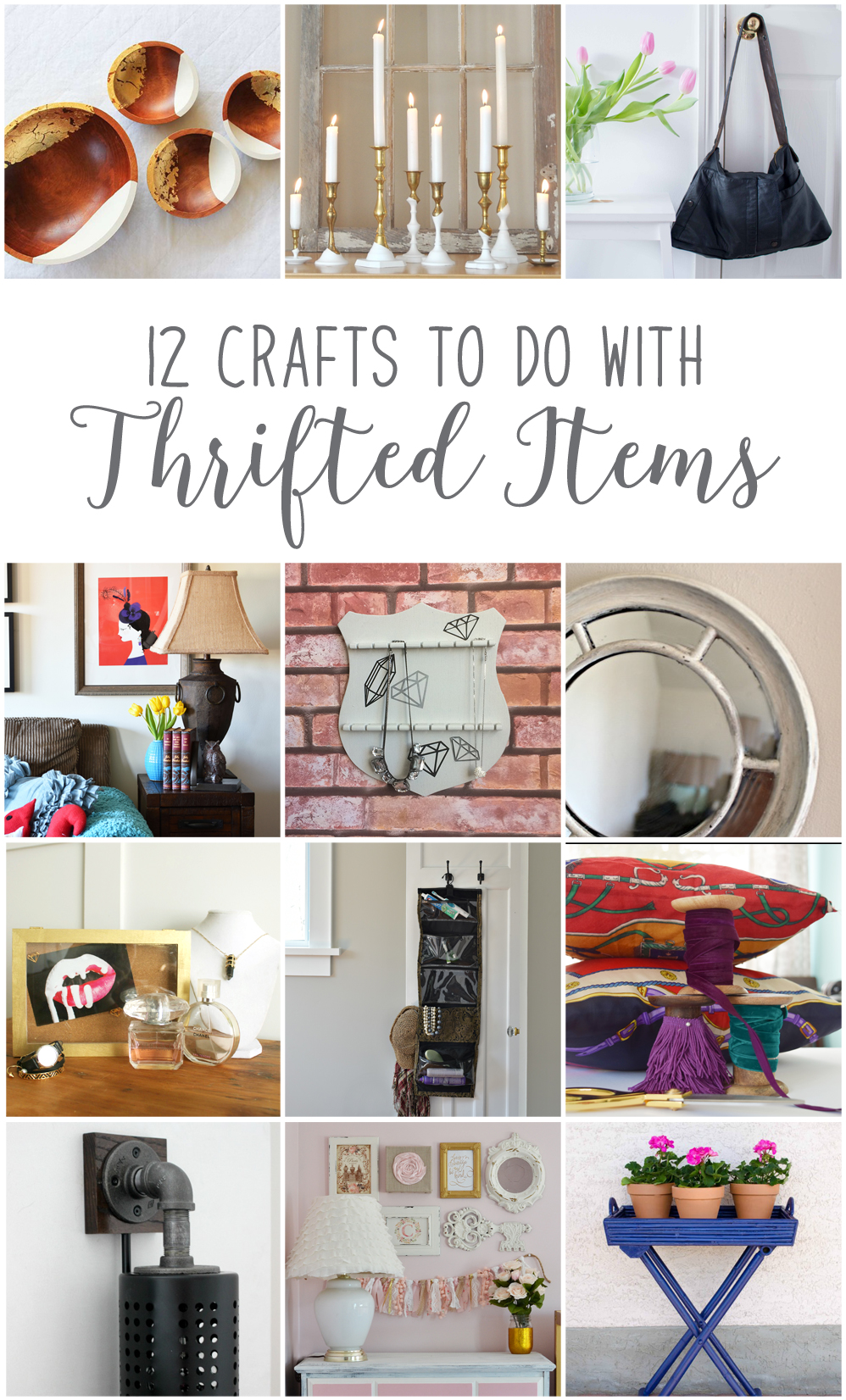 Twelve creative and innovative DIY projects made with thrift store finds. From serving bowls, candlesticks, lamps, mirrors and more, these projects will leave you inspired to head to your nearest Value Village! Includes a step-by-step tutorial for a DIY handbag upcycled from an old leather coat!