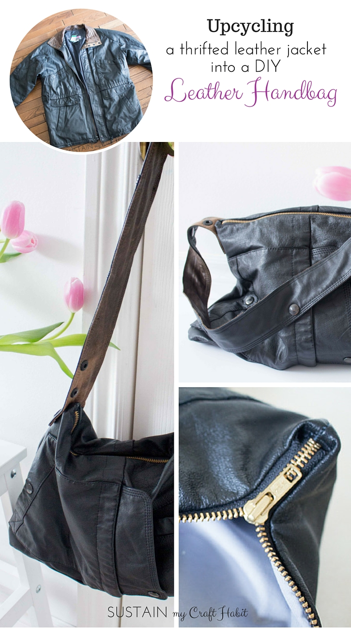 Upcycling A Leather Coat into a DIY Leather Bag: #12MonthsofDIY. Follow the detailed step-by-step instructions to see how an old men's genuine leather jacket with a broken zipper was repurposed into a useful, edgy and stylish lined handbag. An easy weekend sewing project. — SUSTAIN MY CRAFT HABIT